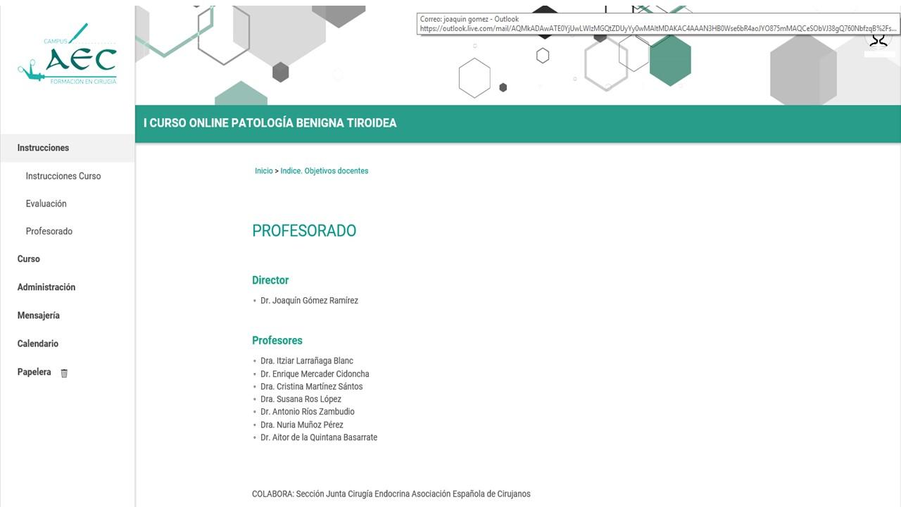 Puesta en marcha del I curso online de patología benigna tiroidea de la AEC